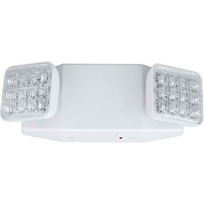 Compass Lighting CU2SQ LED Emergency Light, Square Heads, White, NiCad Battery, Damp location