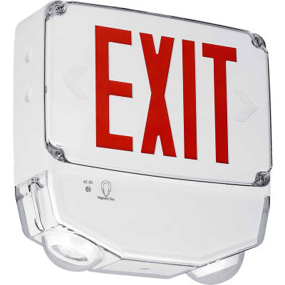 Hubbell CWC1RW LED Combo Exit/Emergency Light, Wet Location, Red Letters, White, Single Face