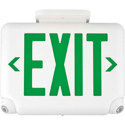 Hubbell EVCUGWDI Compact LED Combo Unit, White w/ Green Letters, Self-Diagnostics