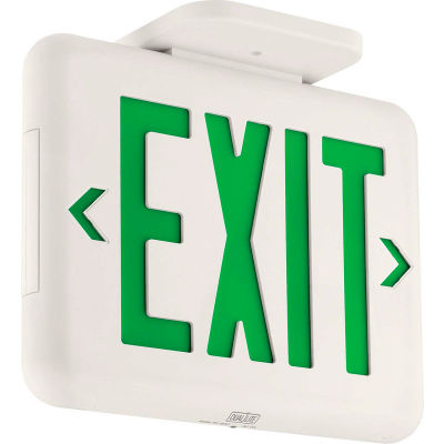 Hubbell EVEUGWEI Compact Arch. LED Exit, White w/ Green Letters, w/Battery Back-up, Self-Diagostics
