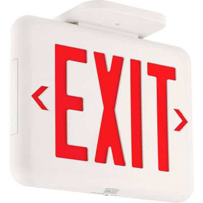 Hubbell EVEURWEI Compact Arch. LED Exit, White w/ Red Letters, w/Battery Back-up, Self-Diagostics