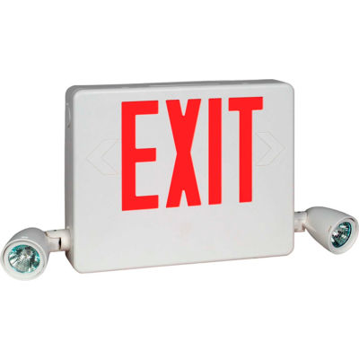 Hubbell HCXURW Designer LED Combo Exit/Emergency Unit, Remote Capacity, White, Red Letters