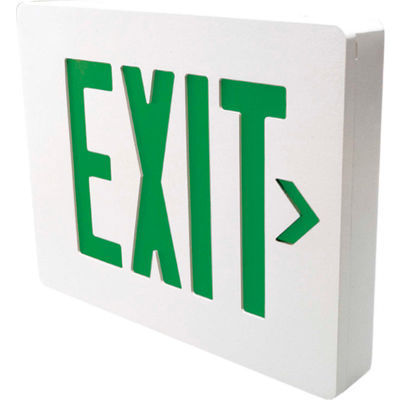 Hubbell SEDGW Die Cast Aluminum LED Exit Sign, White w/ Green Letters, Double Face, Damp Listed