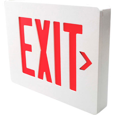 Hubbell SEDRW Die Cast Aluminum LED Exit Sign, White Finish w/ Red Letters, Double Face, Damp Listed