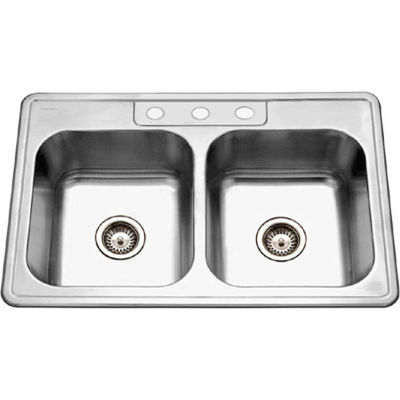 Houzer® 3322-8BS3-1 Drop In Stainless Steel 3-Holes 50/50 Double Bowl Sink