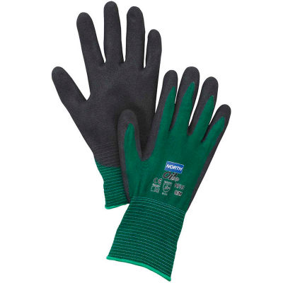 North® Flex Oil Grip™ Nitrile Coated Gloves, North Safety NF35/7S, Green, 1 Pair - Pkg Qty 12
