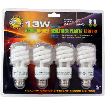 SunBlaster SL0900151 CFL 6400K Grow Light Bulbs 4/pk, 13W