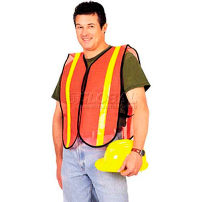 ComfitWear® Safety Vest, Fluorescent Red/Orange, Polyester, One Size - Pkg Qty 12