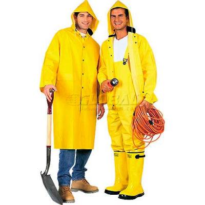 ComfitWear® 2-Piece 48 Inch Raincoat, Yellow, Polyester, M - Pkg Qty 10