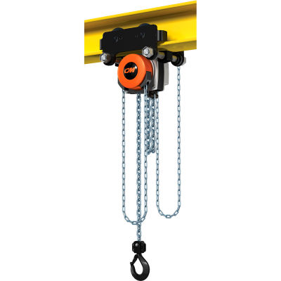 CM Hurricane 360° Hoist & Trolley Combo Geared 2 Ton Capacity, 15' LIft