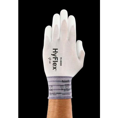 HyFlex® Lite Polyurethane Coated Gloves, ANSELL 11-600-10, White, Size 7, 1 Pair - Pkg Qty 12