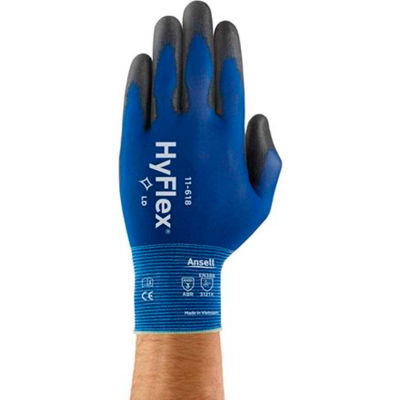 HyFlex® Light Weight Polyurethane Coated Gloves, Ansell 11-618, Size 8, 1 Pair - Pkg Qty 12