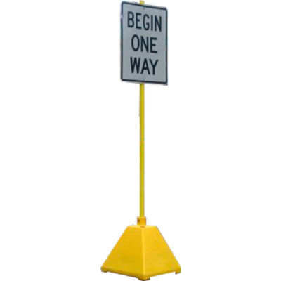 """Ideal Shield® Pyramid Sign Base with 98""""H Post, Yellow, 22""""W x 22""""D x 22""""H Base"""