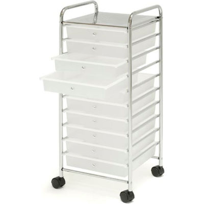 """Seville Classics 15-3/8""""L x 15-1/2""""W x 38-3/16""""H - 10-Drawer Wide Organizer Cart - Frosted White"""