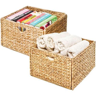 Woven Hyacinth Storage Cube Basket - 2-Pack - Light Brown - Pkg Qty 2
