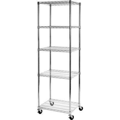 """5-Tier UltraDurable Mobile Wire Shelving - Commercial Grade NSF Steel 24""""L x 18""""W x 75""""H - Chrome"""