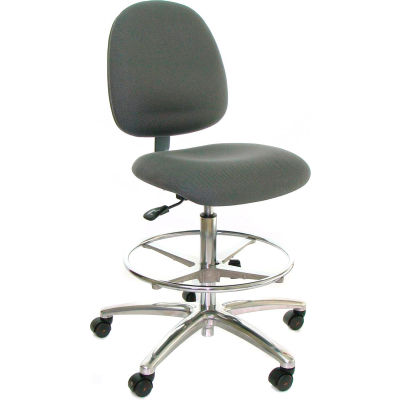 ESD Stool with Footrest - Mid-Back - Fabric - Black - Aluminum Base