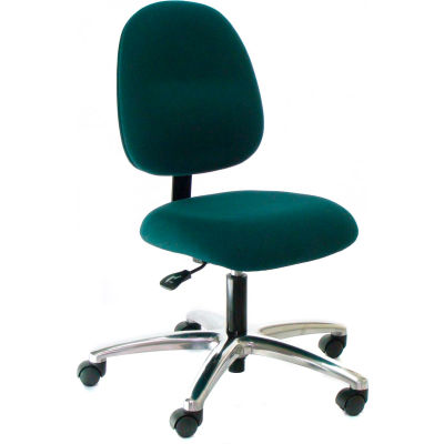 Heavy Duty Mid Back Fabric Chair with Aluminum Base Black