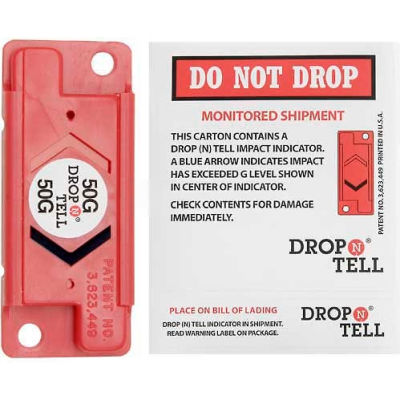 Drop-N-Tell® Impact Indicators for Fragile Items, 15G Range - Pkg Qty 25