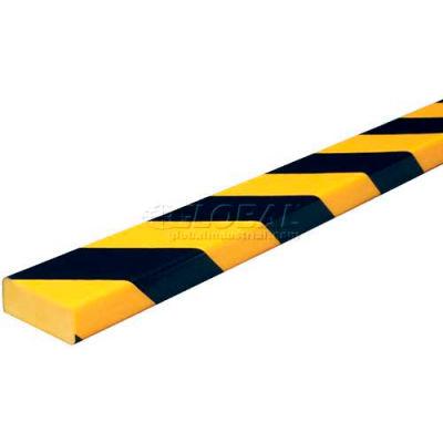"Knuffi Surface Bumper Guard, Type D, 196-3/4""L x 2""W x 13/16""H, Black & Yellow, 60-6730"