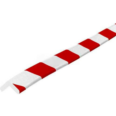 "Knuffi 90-Degree Shelf Bumper Guard, Type E, 196-3/4""L x 1""W x 1""H, Red & White, 60-6740-2"
