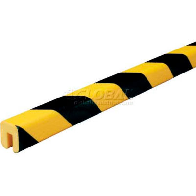 "Knuffi Shelf Bumper Guard, Type G, 196-3/4""L x 1-1/16""W x 1-1/4""H, Black & Yellow, 60-6760"