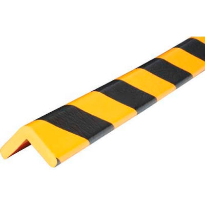 "Knuffi Corner Bumper Guard, Type H, 196-3/4""L x 1-7/8""W x 1-7/8""H, Black & Yellow, 60-6770"