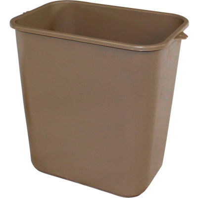 Impact Pinch'M Rectangular Soft-Sided Plastic Wastebasket-28 Qt., Beige, 7702-15 - Pkg Qty 24
