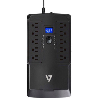 V7 UPS 750VA Desktop Battery Backup System with 10 Outlets (5 Battery Backup + 5 Surge)