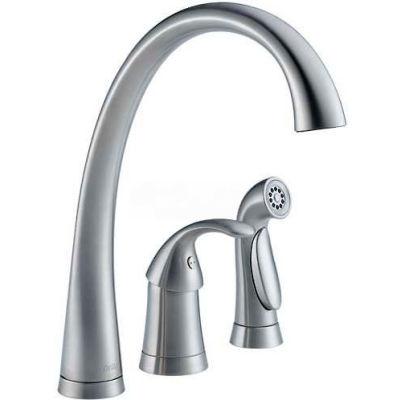 Delta 4380-AR-DST, Pilar Single Handle Kitchen Faucet W/Spray, Arctic Stainless