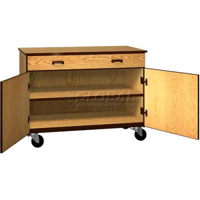 "Mobile Wood Cabinet, 1 Drawer 1 Shelf, Solid Door, 48""W x 22-1/4""D x 36""H, Natural Oak/Brown"