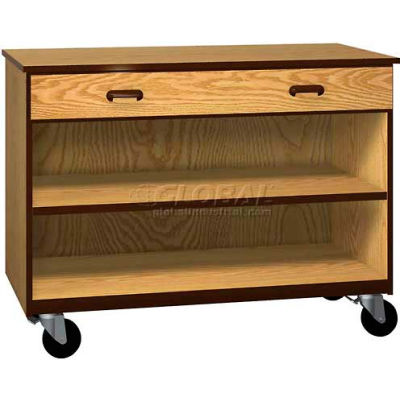 """Mobile Wood Cabinet, 1 Drawer 1 Shelf, Open Front, 48""""W x 22-1/4""""D x 36""""H, Natural Oak/Brown"""