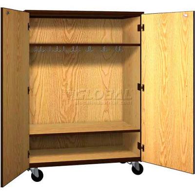 "Mobile Wood Wardrobe Cabinet w/Locks, Solid Door, 48""W x 22-1/4""D x 66""H, Natural Oak/Brown"
