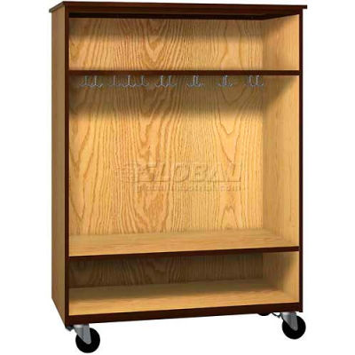 """Mobile Wood Wardrobe Cabinet, Open Front, 48""""W x 22-1/4""""D x 66""""H, Oiled Cherry/Black"""