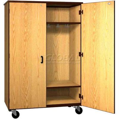 "Mobile Wood Wardrobe Cabinet w/Locks, Solid Door, 48""W x 22-1/4""D x 72""H, Natural Oak/Brown"