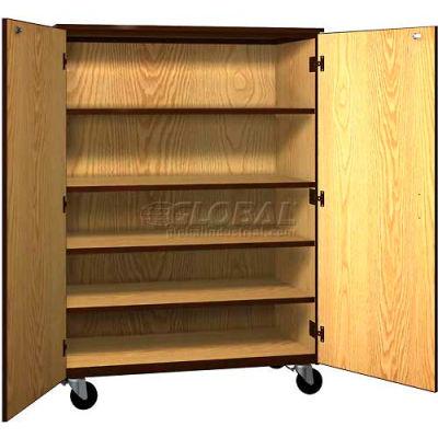 "Mobile Wood General Storage Cabinet, w/Locks, Solid Door, 48""W x 22-1/4""D x 66""H, Maple/Black"