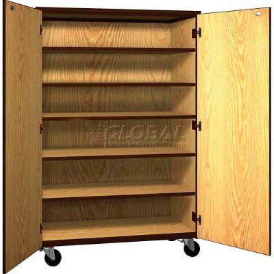 "Mobile Wood General Storage Cabinet, w/Locks, Solid Door, 48""W x 22-1/4""D x 72""H, Maple/Black"