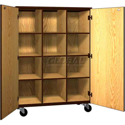 Mobile Wood Cubicle Cabinet, 9 Shelves w/Locks, Solid Door, 48 x 22-1/4 x 66, Oiled Cherry/Black