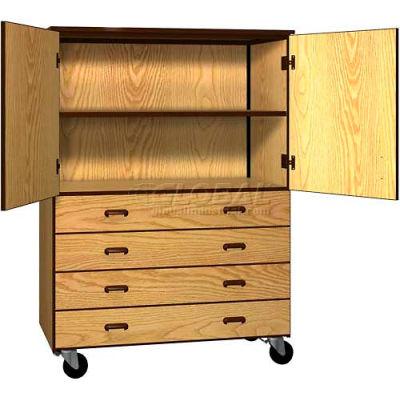 Mobile Wood Combo Cabinet, 4 Drawers, 1 Shelf, Solid Door, 48 x 22-1/4 x 66, Dixie Oak/Brown