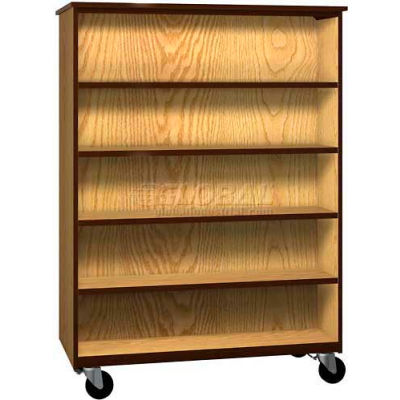 "Mobile Wood Double-Faced Bookcase, Open Front, 48""W x 22-1/4""D x 66""H, Natural Oak/Brown"