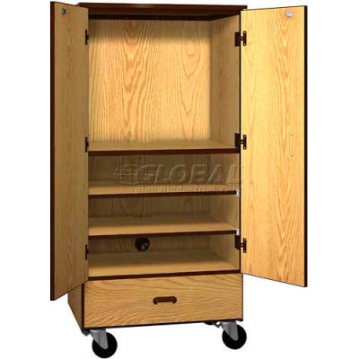 """Mobile Wood Video Center Cabinet, Solid Door, 48""""W x 22-1/4""""D x 66""""H, Oiled Cherry/Black"""
