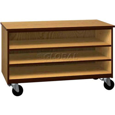 """Tote Tray Mobile Wood Cabinet, Open Front, 48""""W x 22-1/4""""D x 29""""H, Natural Oak/Brown"""