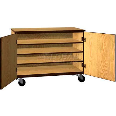 """Tote Tray Mobile Wood Cabinet, Solid Door, 48""""W x 22-1/4""""D x 36""""H, Maple/Black"""