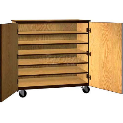 """Tote Tray Mobile Wood Cabinet, Solid Door, 48""""W x 22-1/4""""D x 48""""H, Maple/Black"""