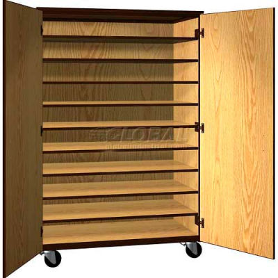 """Tote Tray Mobile Wood Cabinet, Solid Door, 48""""W x 22-1/4""""D x 72""""H, Maple/Black"""