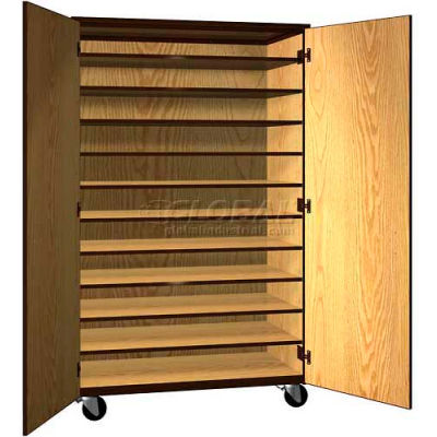 """Tote Tray Mobile Wood Cabinet, Solid Door, 48""""W x 22-1/4""""D x 78""""H, Natural Oak/Brown"""