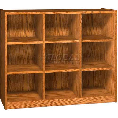 Wood Cubicle Cabinet, 9 Openings, Open Front, 52 x 17-5/8 x 42-3/8, Oiled Cherry