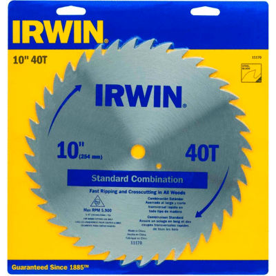 "Circular Saw Blade-10"" X 40t Standard Combination, 5/8"" Arbor-Carded - Pkg Qty 5"