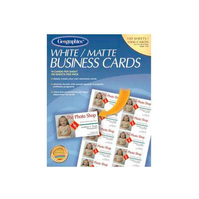 """Geographics® Business Card, 3-1/2"""" x 2"""", 65 lb, Matte, White, 100 Cards/Pack"""