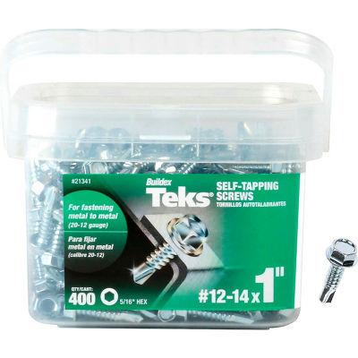 """ITW Teks Drill Point Screw - #12-14 x 1"""" - Hex Head - Pkg of 400 - 21341"""